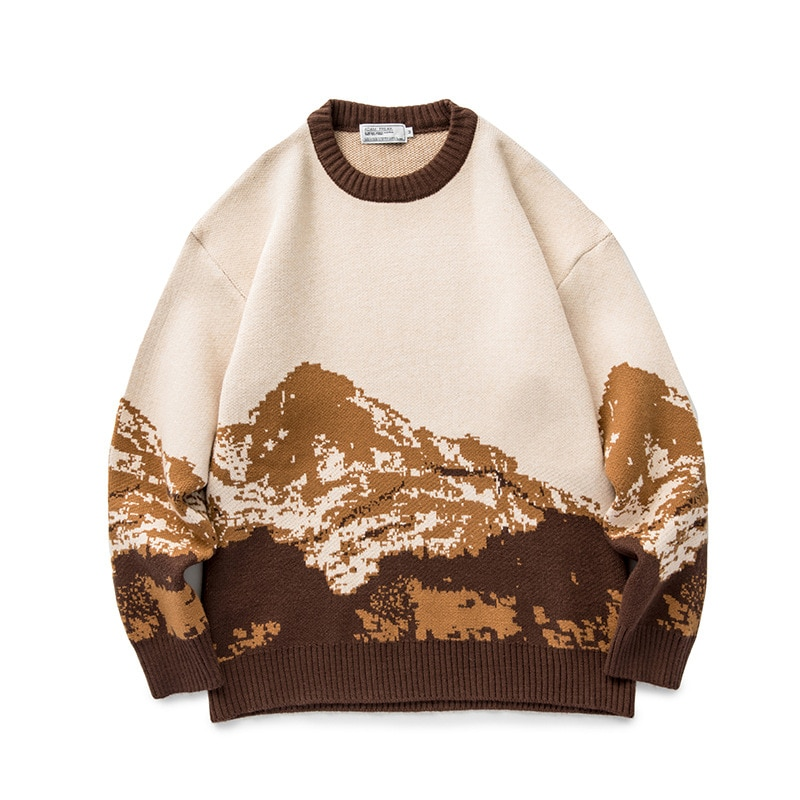 سترة جبلية فضفاضة للرجال ، سترة هاراجوكو هيب هوب ، ملابس الشارع المحبوكة ، أزياء يابانية غير رسمية