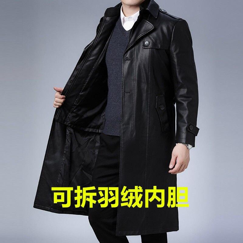 الشتاء عارضة الجلود خندق معطف ضئيلة المناسب ، الصوف و معطف جلد سميك منتصف العمر فضفاضة كبيرة الحجم معطف جلد طويل