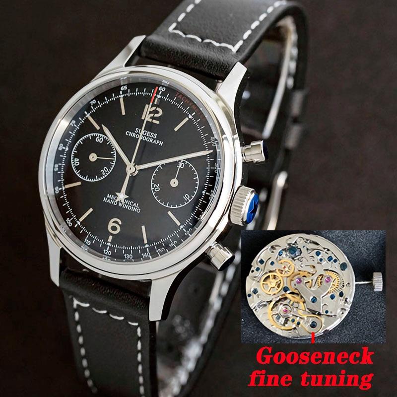 Chronograph Mechanical Seagull ST1901 Movement Pilot Watch Men 38mm 40mm Sapphire Gooseneck watches