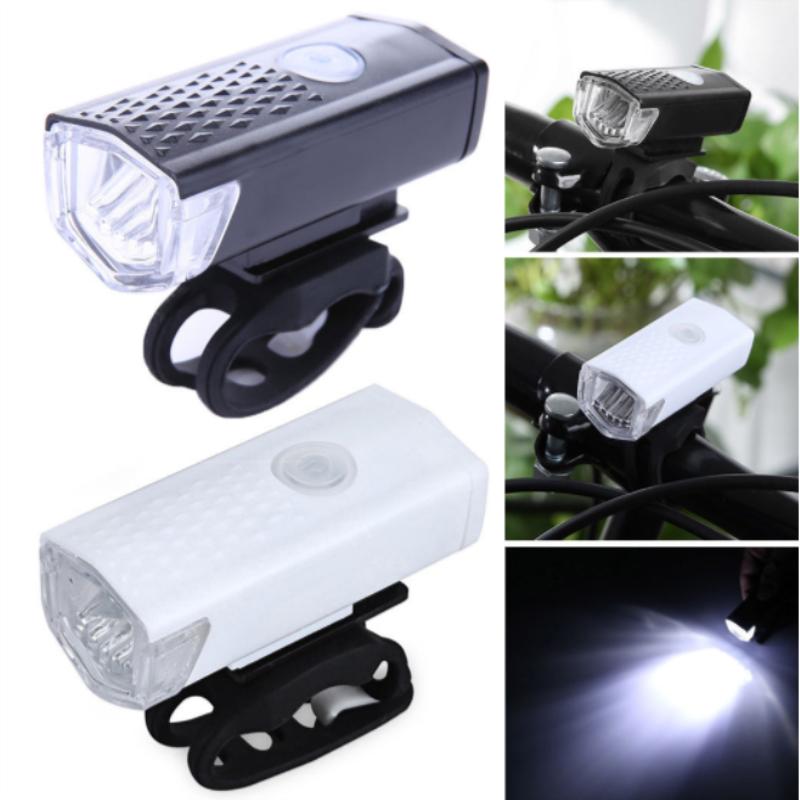 2019 nuevo 1 Uds bicicleta faro delantero bicicleta 300 lúmenes linterna recargable USB bicicleta 3 modos con accesorios de luz LED
