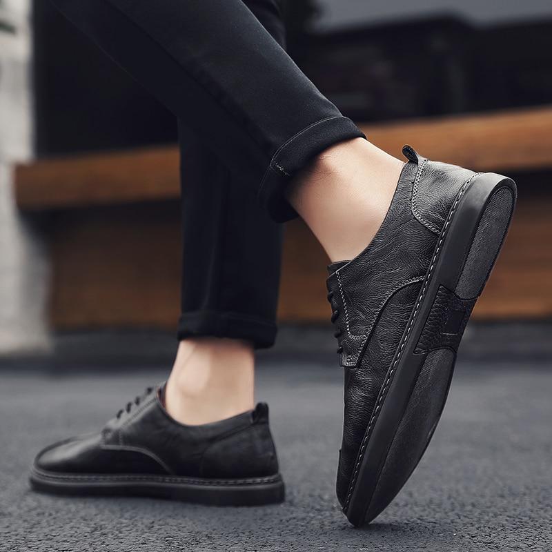 Мужская повседневная обувь для отдыха, повседневная обувь, Мужская модная мужская обувь, мужская кожаная обувь на плоской подошве для мужчи...
