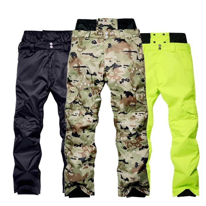 Мужские штаны для сноуборда водонепроницаемые ветрозащитные камуфляжные уличные штаны для снега мужские зимние теплые лыжные штаны с высо...