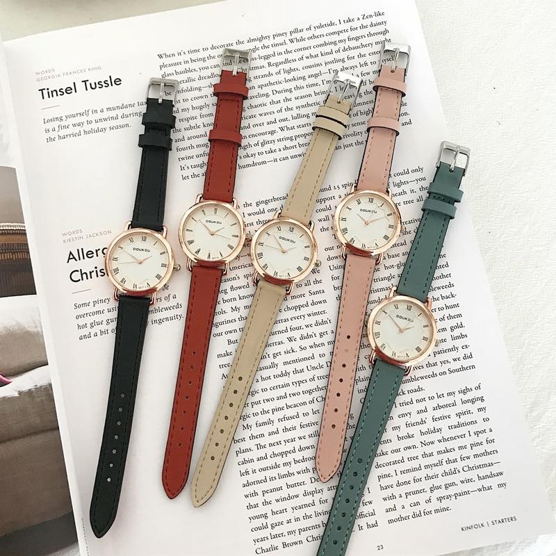 Luxury Fashion Casual Women Wathces Retro Roma Dial Design Quartz Clock With Vintage Leather Band Ladies Simple Wristwatches