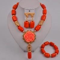 fashion orange coral beads flower necklace nigerian wedding african beads jewelry set wedding bridal jewelry sets 315 c1
