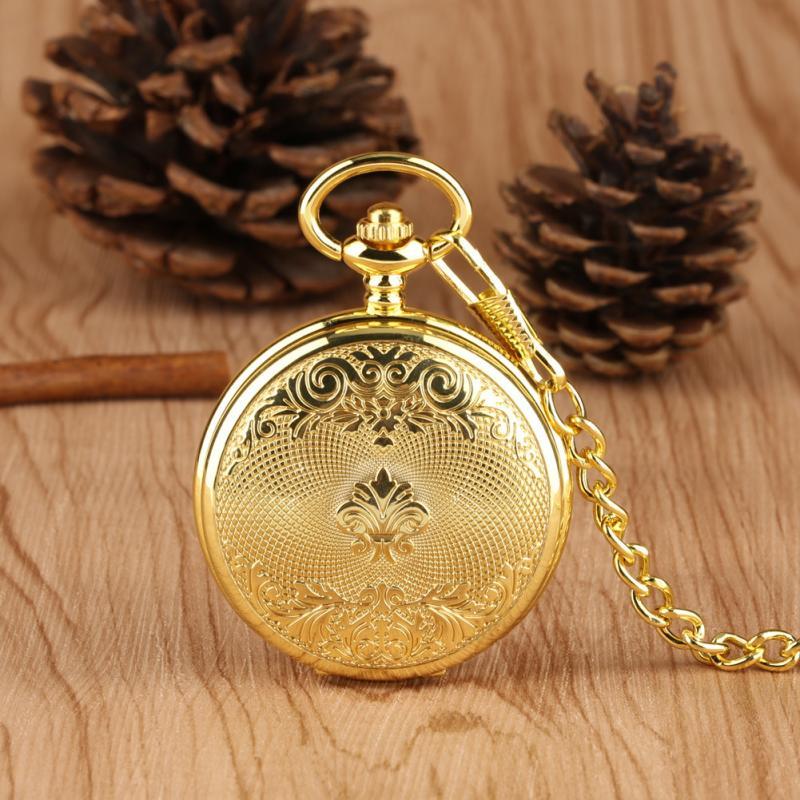 Luxury Yellow Gold Men Women Handwinding Mechanical Skeleton Pocket Watch Pendant Chain Clock Arabic Number Dial Watches Reloj