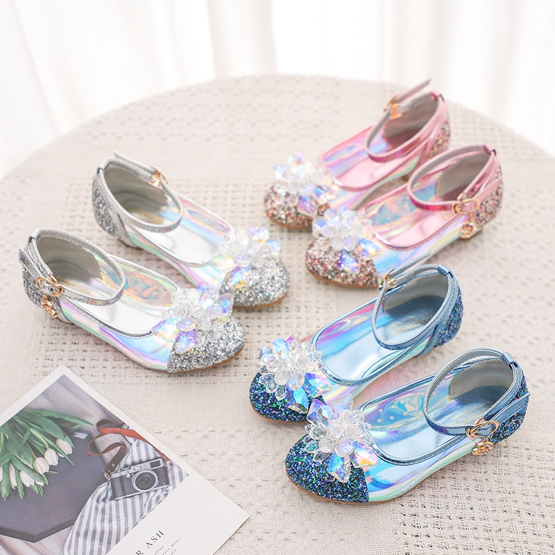 kids performance shoes 2020 spring new girls shiny crystal flower princess wholesale