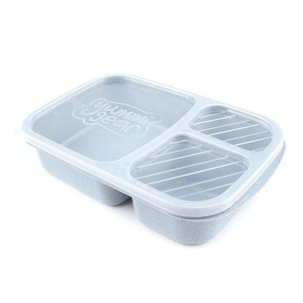 Caja cuadrada de tres rejillas de paja de trigo, caja de almuerzo transparente, caja de almuerzo para estudiantes, caja de comedor para Sushi