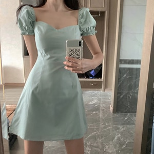 Summer New Solid Color French Square Collar Simple And Thin Elegant Puff Sleeve A-Line Dress Fashion Low-Cut Party Dress Dress