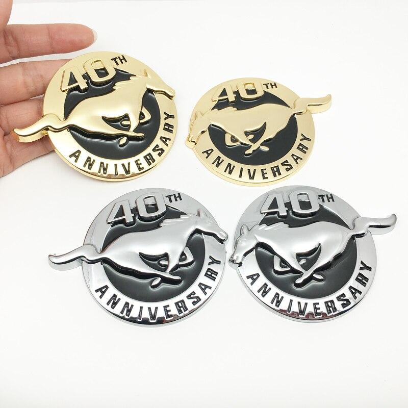 Pegatinas 3D de Metal para coche, 40 años de aniversario, emblema para caballo, pegatina para Ford Mustang Shelby GT, maletero trasero