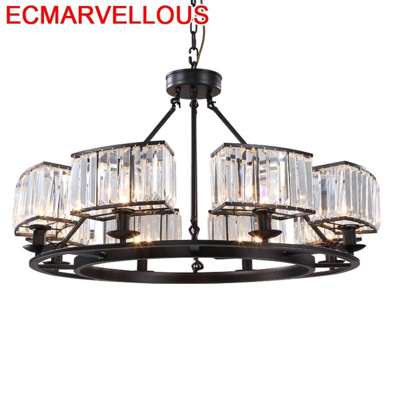 Deco cocina Industriele Casa Europea Gantung cristal lámpara colgante Luminaria Suspendu suspensión Luminaria colgante de luz