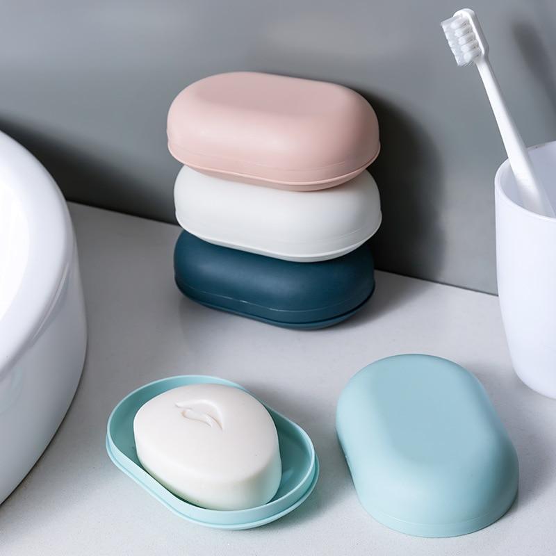 1 pçs buraco-perfurado caixa de sabão bonito caixa de sabão doméstico viagem portátil suporte de sabão toalete sabão prato rack