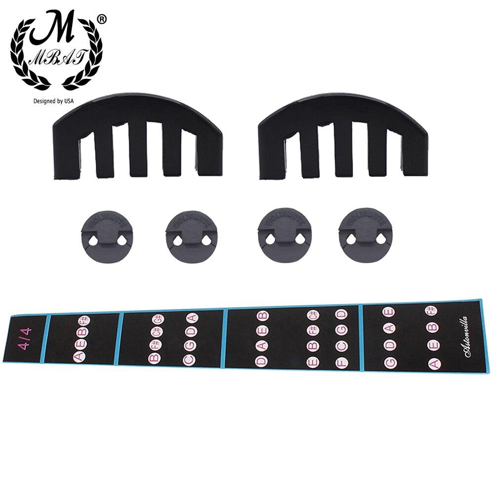 M MBAT Violin Three-Pcs Set Intonation Fingerboard Sticker + Circular Muffler + Five-Claw Muffler Violin Practice Accessories