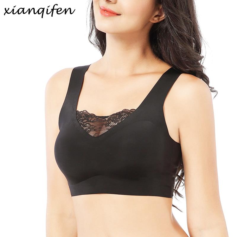 Xianqifen sports plus size bras for women seamless push up wireless vest sexy sleep bralette lace brassiere 110 115 M XL top bh