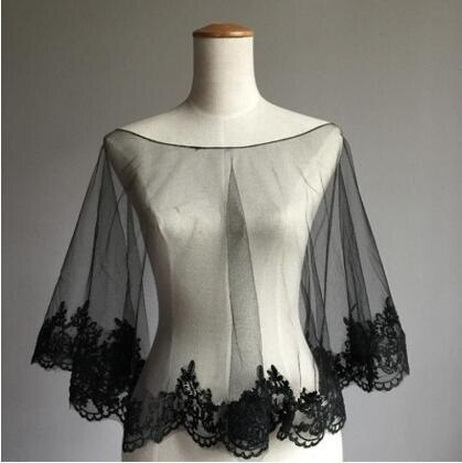 Vestido de novia negro cálido de invierno Shrugs envoltura de Bolero chaqueta...