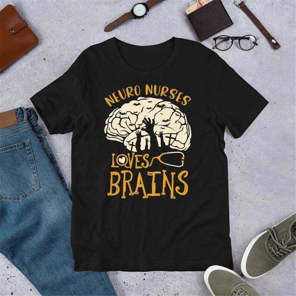 Neuro enfermera Love Brains Anatomy camiseta enfermera camisetas Halloween Neuro enfermería diseño divertido camiseta