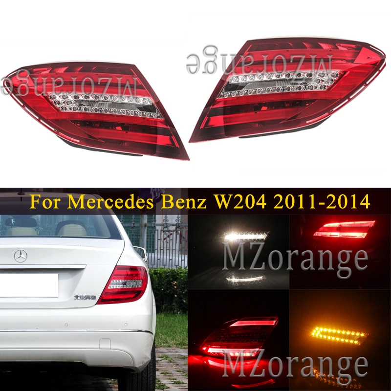 for mercedes benz c180 c200 c280 c300 c350 c63 amg projection lamp prevent rear collision warning light haze rain fog snow lamps Rear tail light For Mercedes Benz W204 C180 C200 C220 C260 C280 C300 2011-2014 tail lights Brake Stop lamp Car Accessories