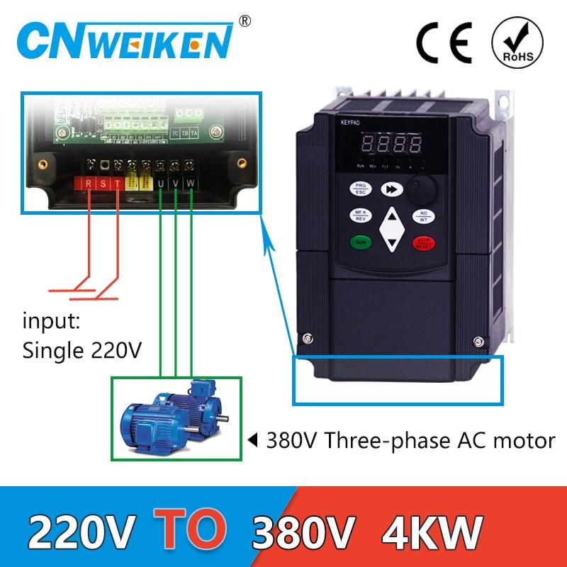 Convertidor de voltaje de aumento VFD 4kw inversor 220v a 380v convertidor monofásico 220V a transformador de corriente alterna trifásico 380v
