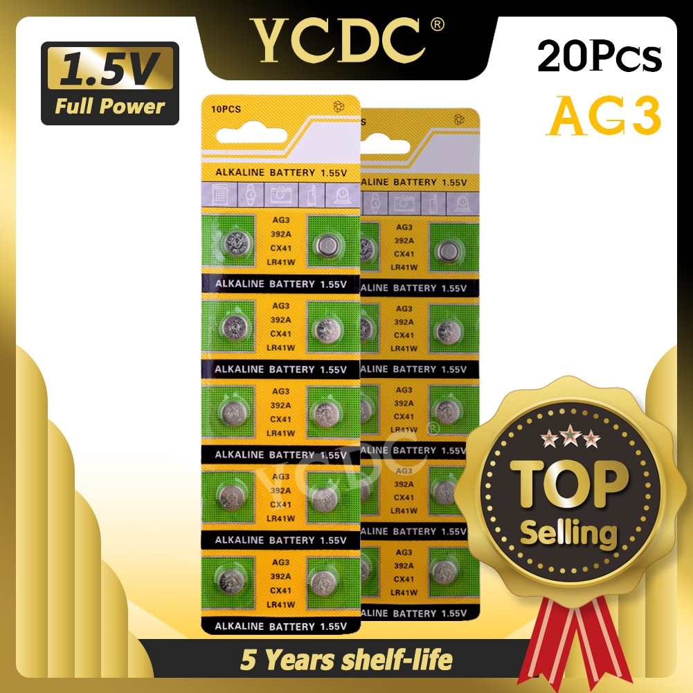 YCDC 20PCS/lot AG3 392A L736 LR41 392 384 SR41SW CX41 192 button cell Coin Battery for watch ,20pcs