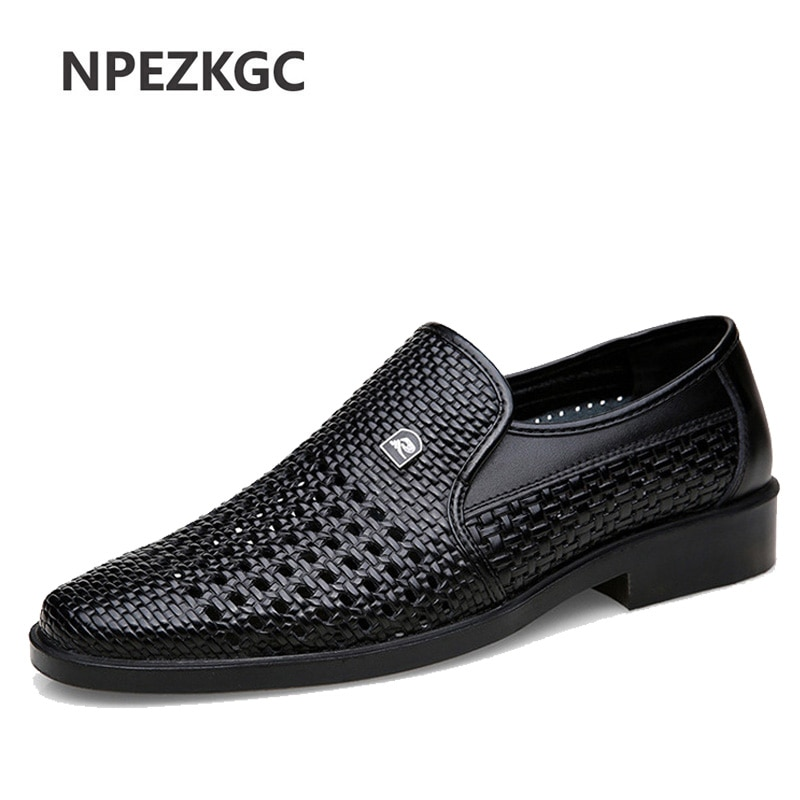 osco 2018 spring summer men shoes youth business british black casual genuine leather breathable dress office shoes men oxford Luxury Brand Genuine Leather Fashion Men Business Dress Loafers Pointed Toe Black Shoes Oxford Breathable Formal Wedding Shoes