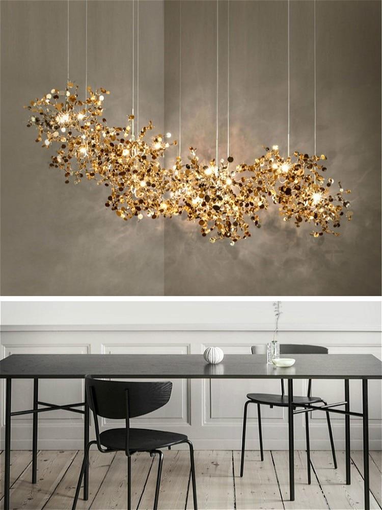 الشمال الحديثة شخصية الفولاذ المقاوم للصدأ الكروم ورقة LED الثريا مصباح لغرفة المعيشة طاولة بار مصباح غرفة الطعام الثريا
