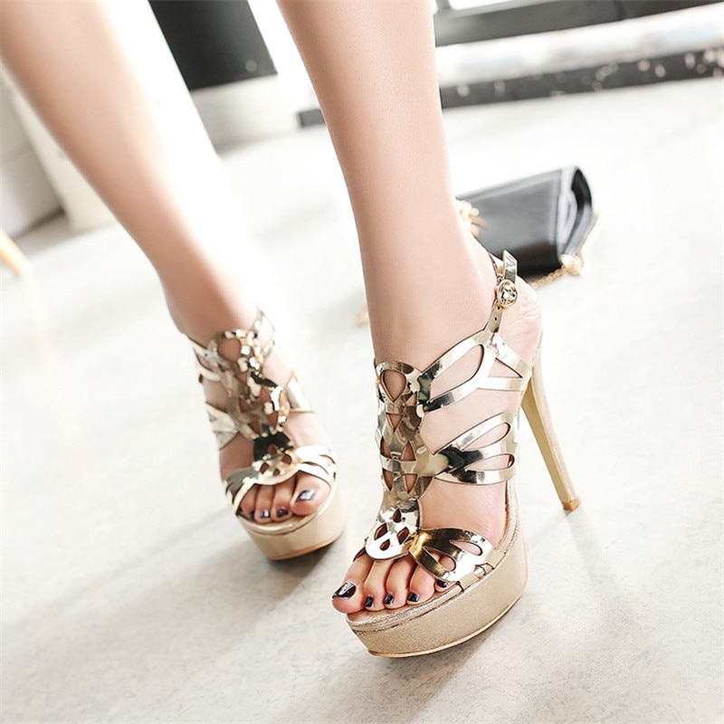 YECHNE Women Gold Open Teen Hooks Sandals Sexy Silver Peep Toe Glitter Strass Sandals Plus Size 33 43 Platform Shoes