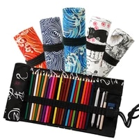 48 holes desk organizer crayon pencil case make up brush holder storage bag for office school supplies children pencil cases