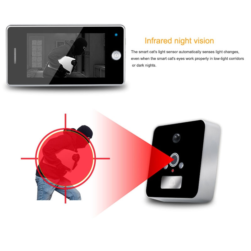 Wifi Video Doorbell Camera 4.3 Inch Peephole LCD Screen Door Viewer Video 7 Languages Recording Motion Detection Night Vision enlarge