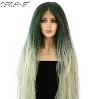 oriane synthetic lace wig long super wave for women braided wigs natural heat resistant green daily party cosplay wigs