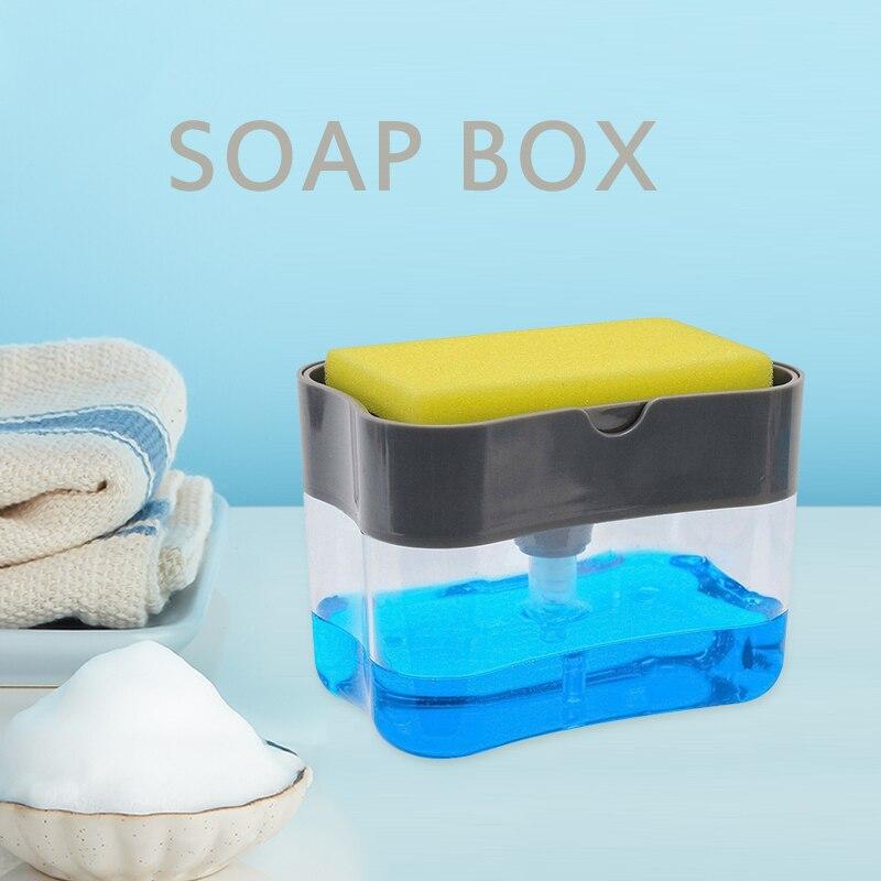 Dispensador con bomba de jabón con soporte para esponja, dispensador de líquidos para limpieza, prensa Manual, organizador de jabón, herramientas de Limpiador de cocina