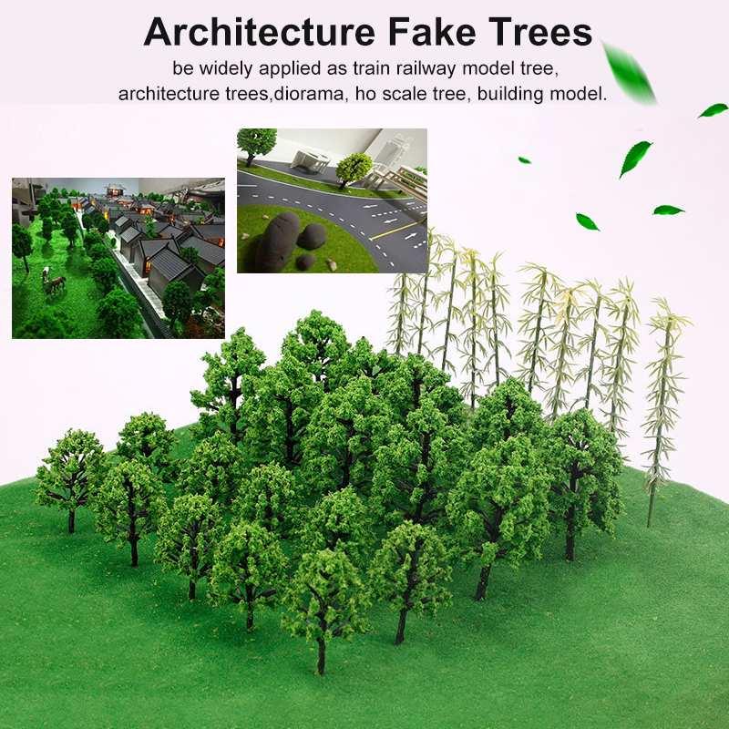 7 tipos de Mini árboles artificiales blanco Álamo pino de bambú diseño ferroviario paisaje vial árbol del paisaje escala modelo 2,8 cm-8,5 cm