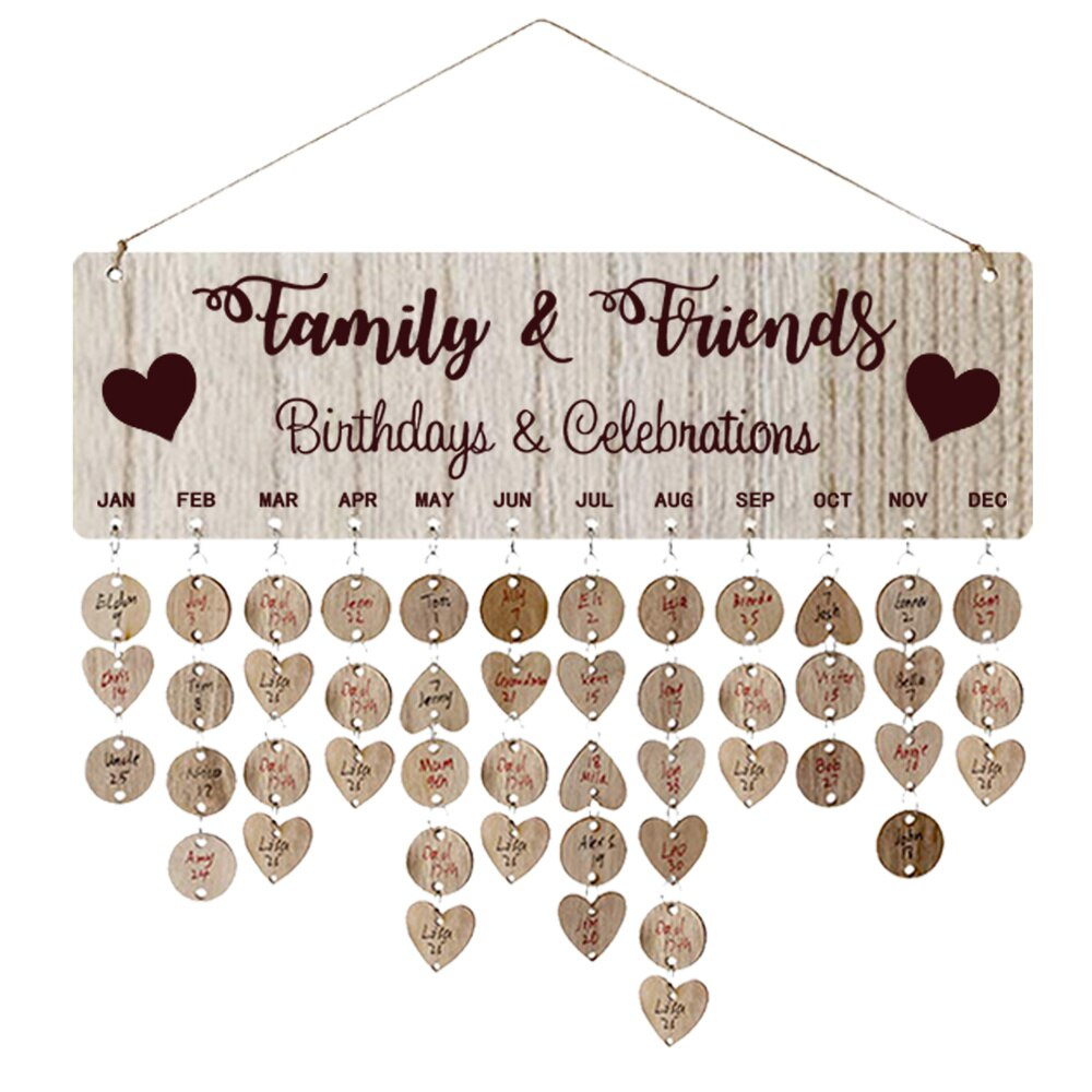 1 Set Creative Wooden Hanging DIY Calendar Reminder Board Plaque Home Decoration with 50 Round Pendants and 50 Heart Shaped Pend