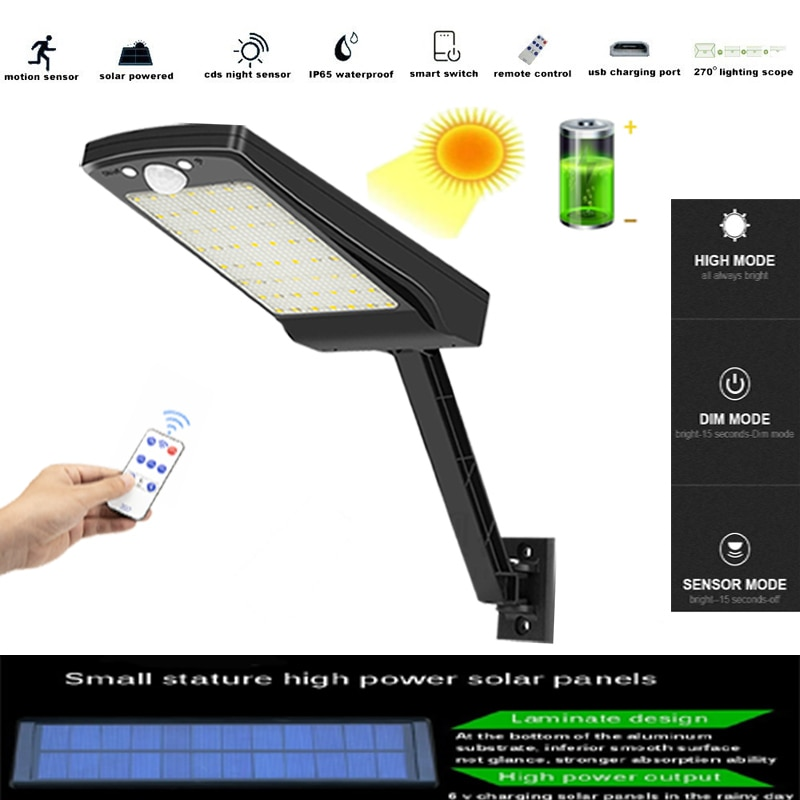 Newest 900lm 56 leds Solar Garden Wall Light Outdoor Waterproof Lightg For 3 Modes Pole remote contr