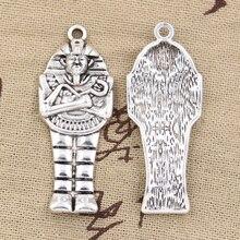 6 pièces breloques égyptien momie sarcophage 45x18mm Antique Bronze argent couleur pendentif bricolage faisant des résultats à la main bijoux tibétains