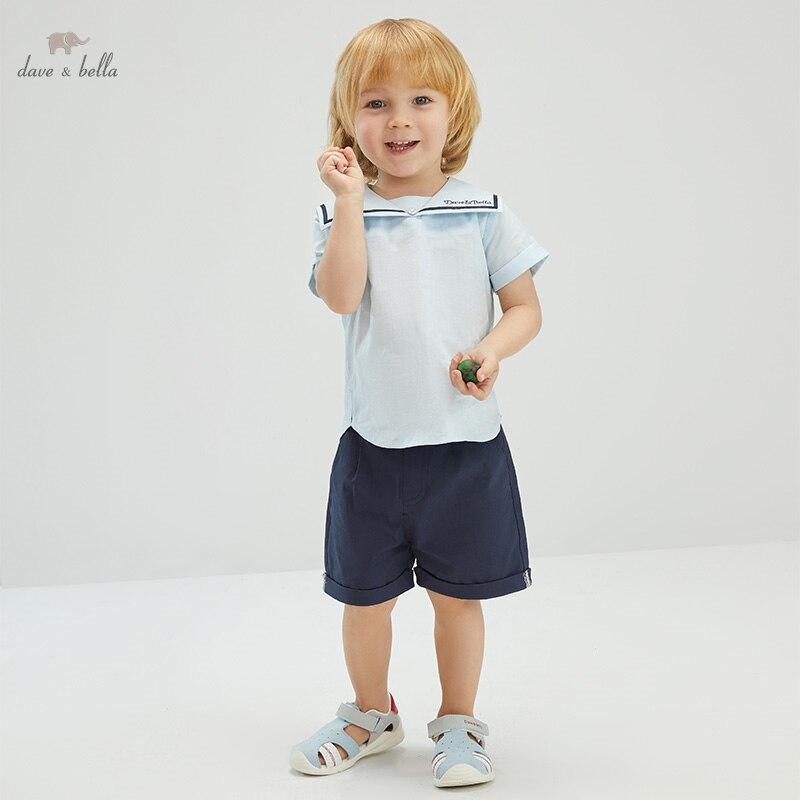 DB16908 ديف بيلا طفل الفتيان الصيف مجموعة ملابس رسالة غير رسمية الاطفال الصبي موضة قصيرة الأكمام مجموعات الأطفال 2 قطعة دعوى