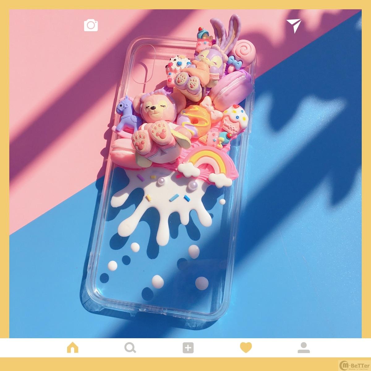 DIY case for Samsung s10plus 3D bear phone cover galaxy note10/9/8plus handmade pink creamy shell s8/9+ s7edge icecream bonut