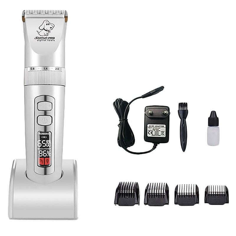 Baorun P9 Dog Hair Trimmer LCD Three-Speed Speed Push Pet Dog Cat Hair Beauty Hairdressing Machine(White) EU Plug