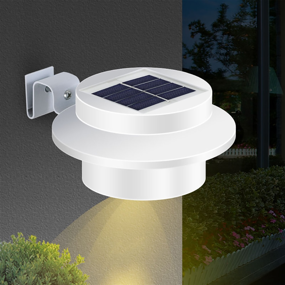LED Garden Solar Powered Gutter Lights 3LED Outdoor Yard Wall Pathway Fence Driveways Waterproof Lamp