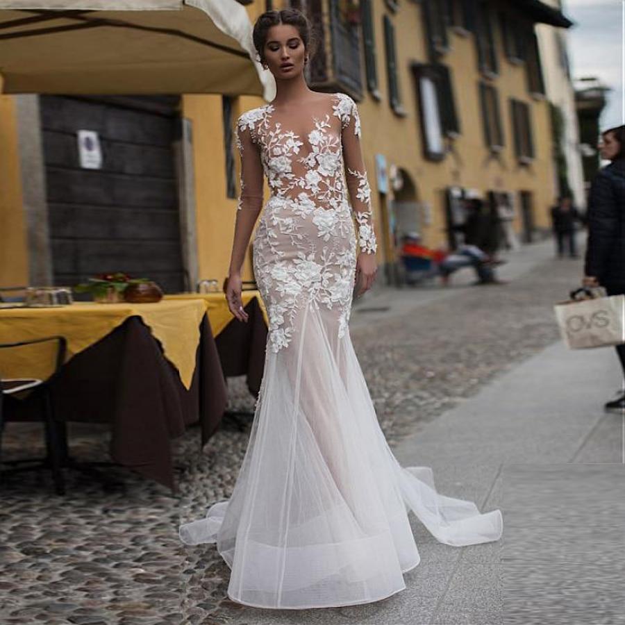 Vestido de novia de tul con Apliques de encaje 3D, sirena, mangas...