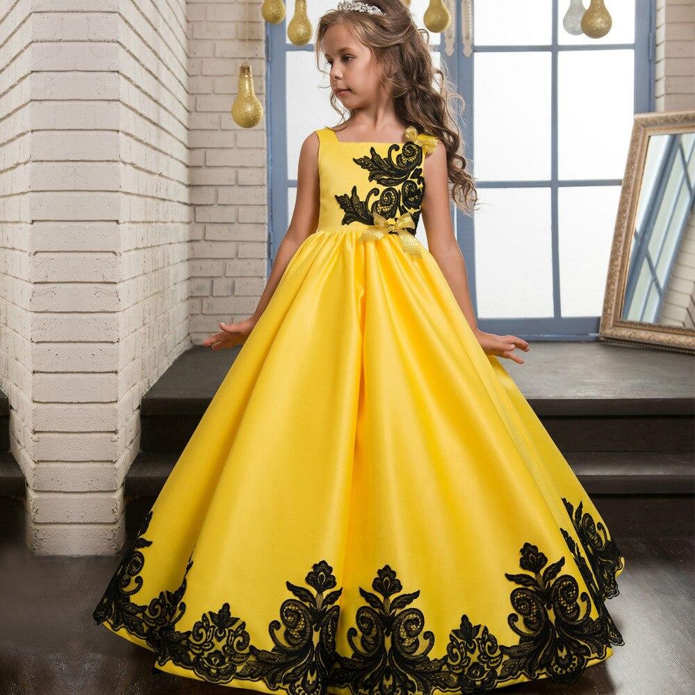 فستان زفاف مطرز ، تول حريري ، جودة عالية ، للأطفال من سن 3 إلى 14 سنة ، فستان سهرة ، مجموعة جديدة
