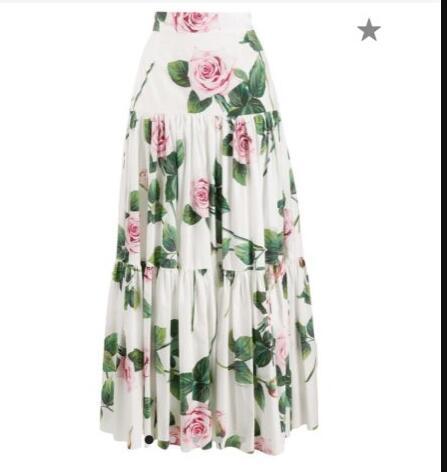 2020 été nouvelle mode femmes jupes sur mesure femmes grande taille 3XS-10XL Maxi longue fleur imprimer une ligne jupe