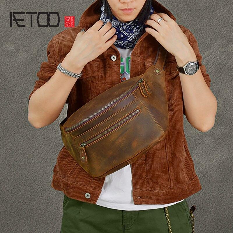 AETOO ريترو الرجال مجنون الحصان الجلود حقيبة صدر للرجال ، جلد البقر حقيبة كروسبودي ، حقيبة كتف سعة كبيرة
