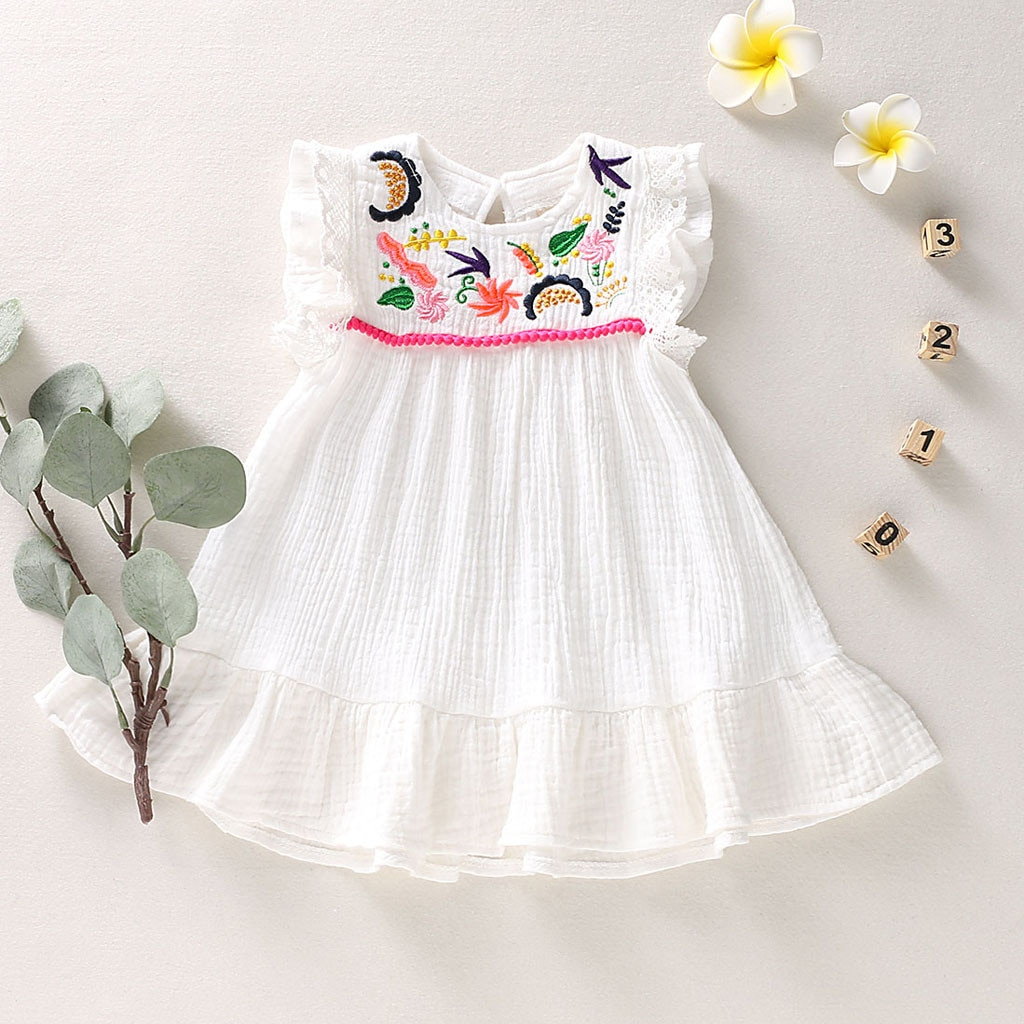 Vestidos sin mangas para niñas Vestidos infantiles para niñas Vestidos de fiesta para niñas Vestidos de verano con flores para niños