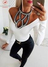 Femmes longue sweat à capuche et manches longues Patchwork évider conception diamant décor licou dessus de couleur unie élégante dame automne chemises minces