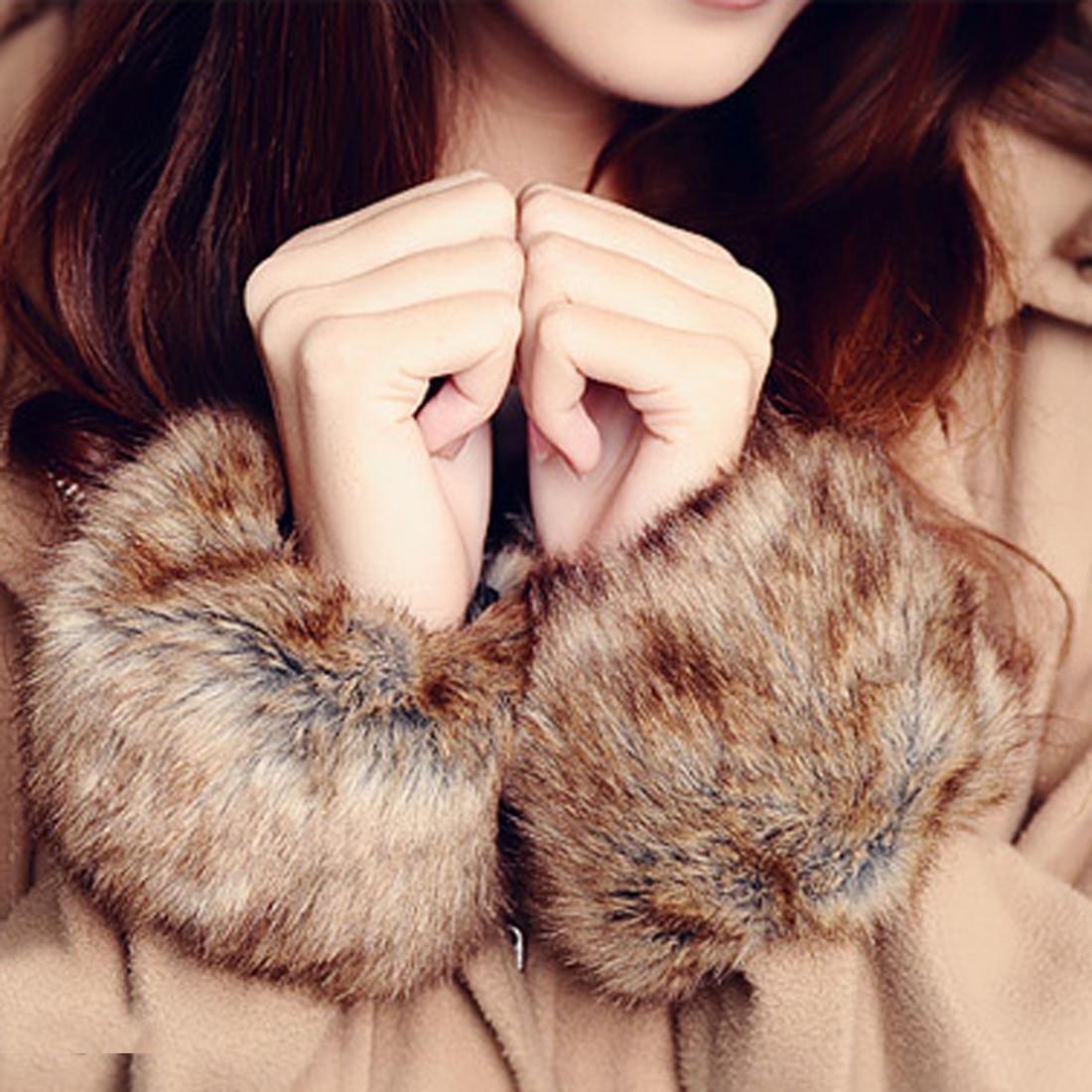 Женские теплые манжеты с искусственным мехом на запястье, зимние женские теплые модные теплые манжеты, теплые манжеты, плюшевая защита для ...