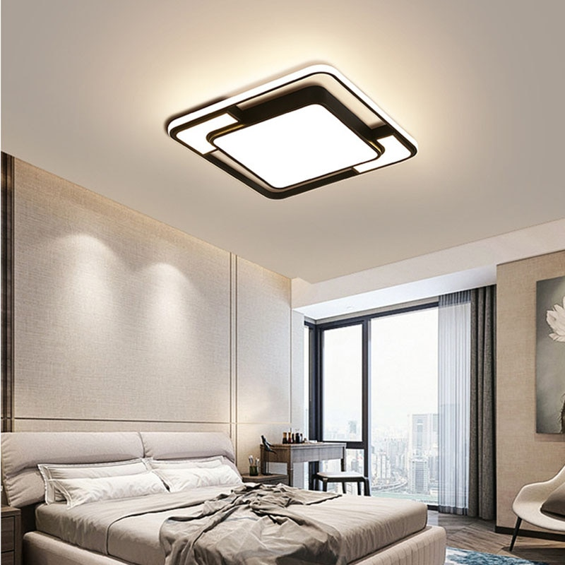 Modern Square Led Ceiling Lights Dining Room Bedroom Living Room Decoration Ceiling Lamp Nordic Home Ceiling Decor Light Fixture botimi modern led ceiling lights wooden square ceiling lamp with dimming remote for living room dining light wood bedroom lamps
