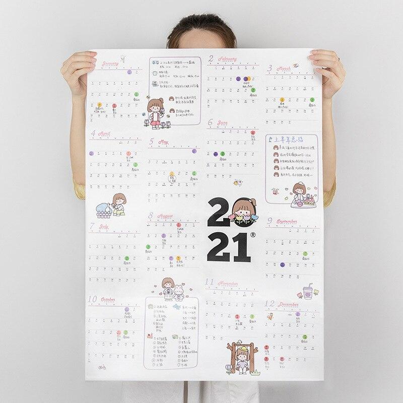 Календарь, бумажный ежедневник на блоки, планировщик года, детские наклейки на стену, Еженедельный планировщик, 2021 365 дней, милые заметки, Ра...