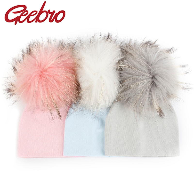 Geebro Newborn Soft Cotton 15 cm Real fur pompom Beanies Hats For Baby Boys Girls Autumn Winter Kids