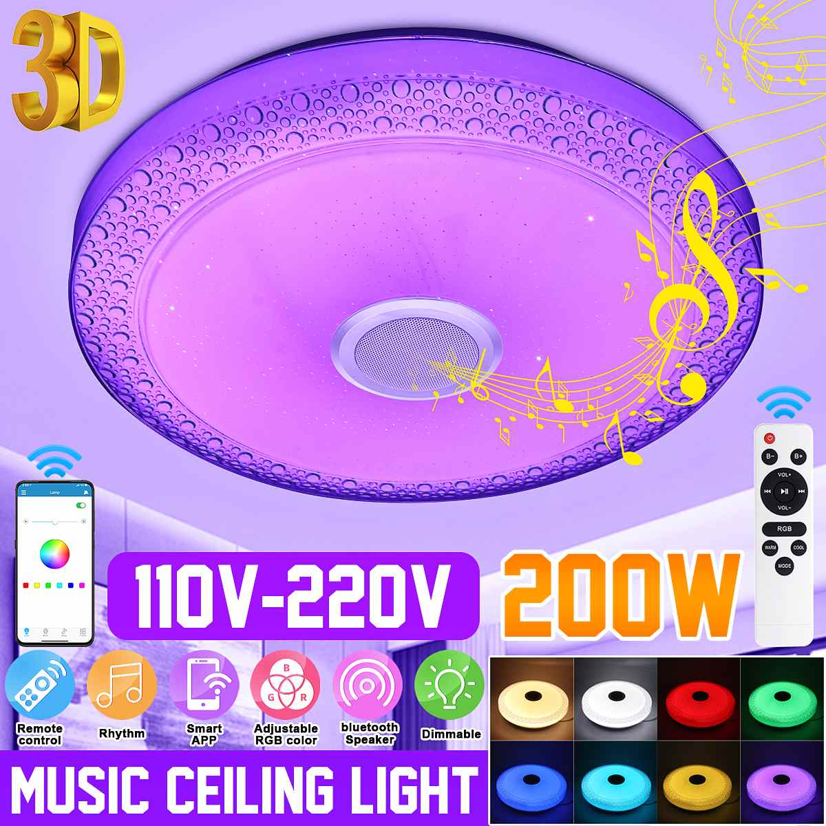 200W 3D Modern RGB LED Ceiling Lights Home lighting APP bluetooth Music Light Bedroom Lamps Smart Ceiling Lamp+Remote Control