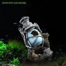 Tanque de peces de acuario decoración antigua linterna para Granero de reptil pescado escondite Decoración Para Taberna de fondo