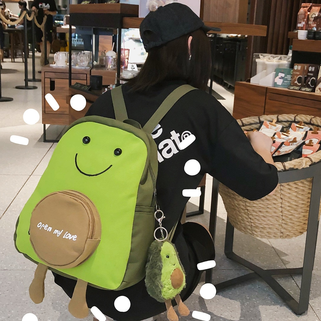 Korean Cute Avocado Green Canvas Bagpacks For Teenage Girls Fresh Travel Shoulder Purse Women Backpack School Laptop Bag #js5